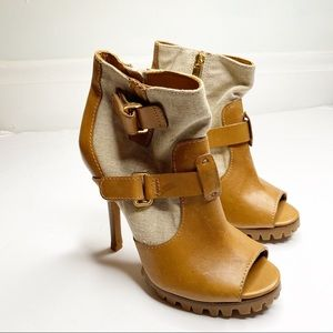 Tory Burch Oren Oatmeal Canvas/Leather Bootie